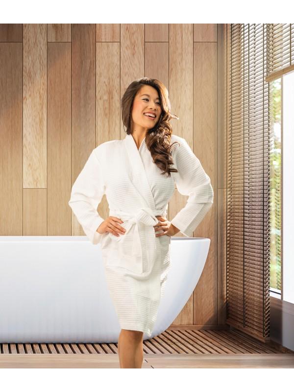 Kayori Geisha - Badjas - Wafel - Wit