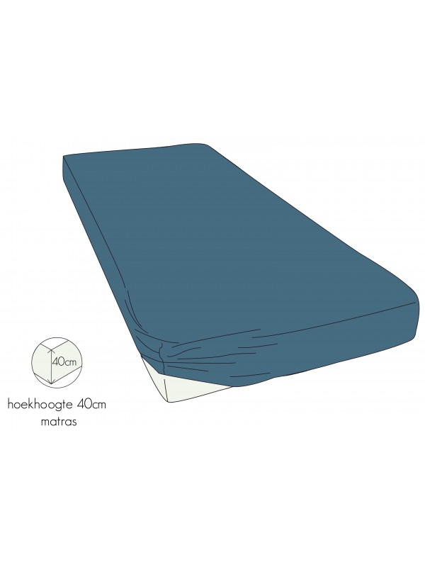 Kayori Shizu - Hoeslaken - Perkal - 40cm Hoek - Blauw