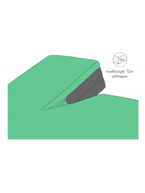 Kayori Shizu - Split Topper hoeslaken - Perkal - Groen